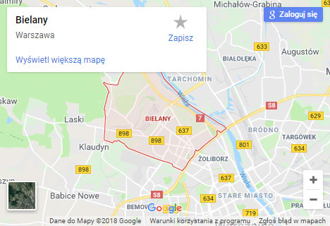 Mapa Google hydraulik Warszawa Bielany
